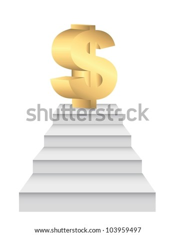 ladders to money over white background. vector illustration - stock vector