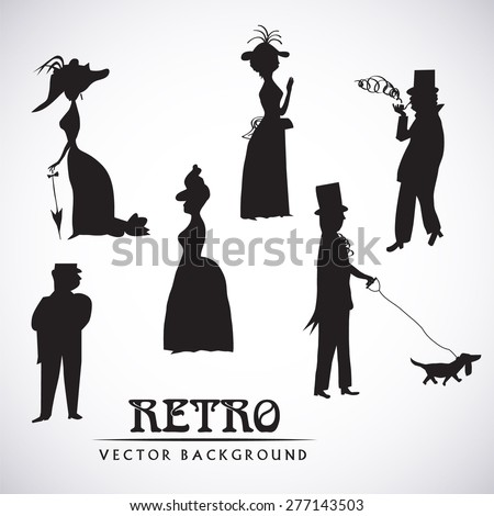 Ladies and gentlemen on walk. Symbolic vintage style, black and white silhouette. Vector collection - stock vector