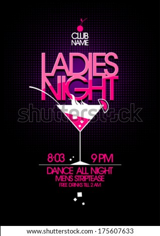 Ladies night party design with martini glass. - stock vector