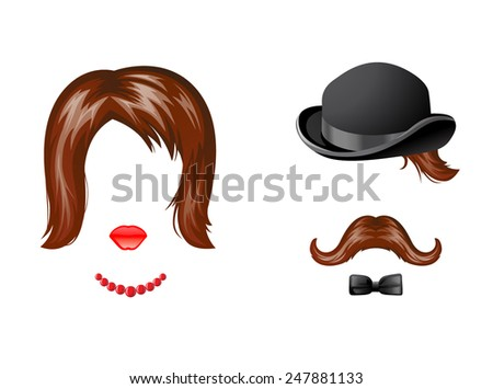 Lady and gentleman fancy dress in retro style - stock vector
