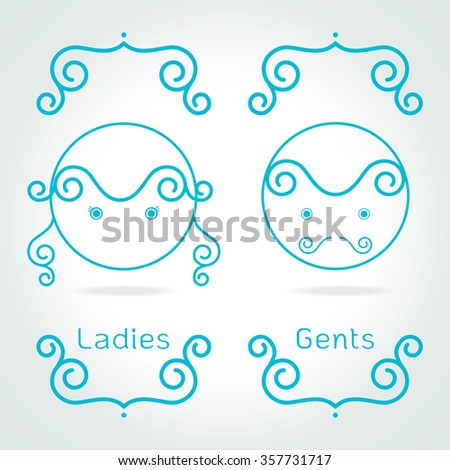 lady and gentleman symbol.Toilet Sign in kids cute style Vector illustration - stock vector
