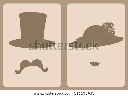 lady and gentleman symbols - stock vector