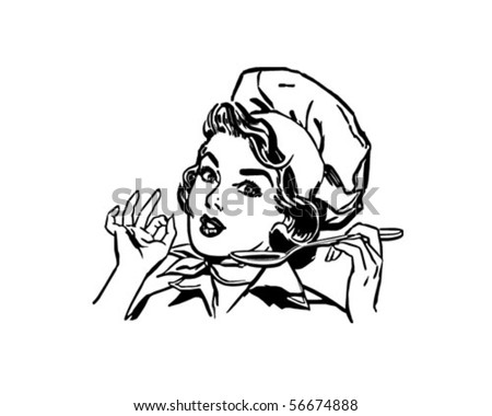 Lady Chef - Retro Clip Art - stock vector