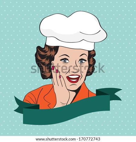 Lady Chef,  retro illustration in vector format - stock vector