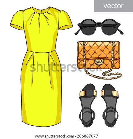 Lady fashion set of summer outfit. Illustration stylish and trendy clothing. Dress, handbag, sunglasses, sandals. Vector. - stock vector