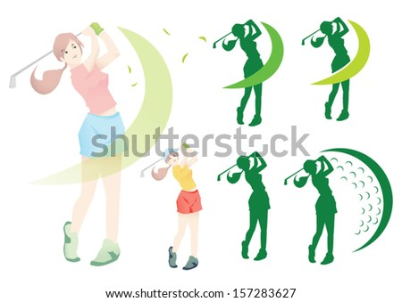 lady golf - stock vector