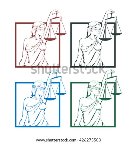 Lady justice logo.Law and order - stock vector