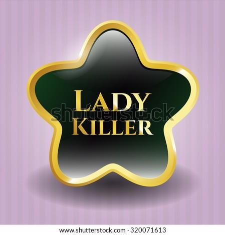 Lady Killer gold shiny badge - stock vector