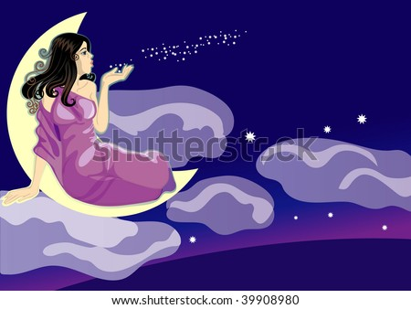 Lady night The girl sitting during a month and blowing off stars from a palm (separate layer) - stock vector