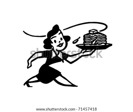 Lady With Hotcakes - Retro Ad Art Illustration - stock vector