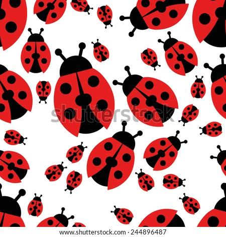ladybird seamless pattern - stock vector