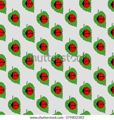 Ladybug On Leaf, Isolated On White Background, Vector Illustration - stock vector
