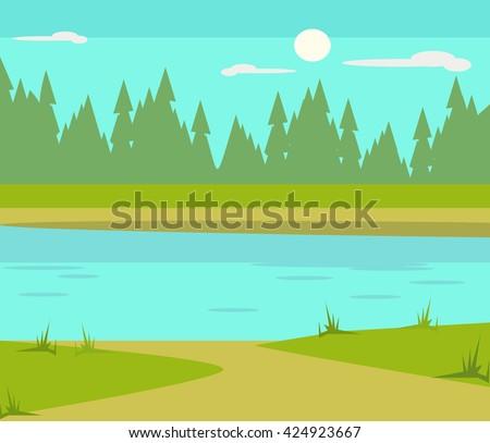 Lake flat cartoon illustration - stock vector