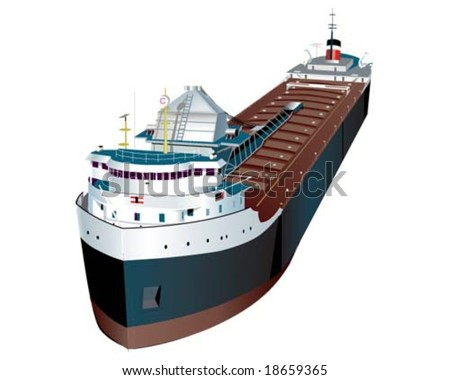Lake Freighter - stock vector