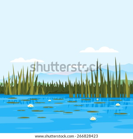 Lake with water lily and bulrush plants, fishing place, pond with blue water, lake travel background, nature landscape - stock vector