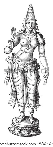 Lakshmi  (Hindu goddess of wealth, prosperity,light,wisdom,fortune and fertility) / vintage illustration from Meyers Konversations-Lexikon 1897 - stock vector