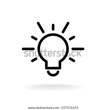Lamp bulb vector flat icon with light rays. Black outline contour style symbol. - stock vector