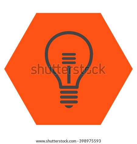 Lamp Bulb vector icon symbol. Image style is bicolor flat lamp bulb iconic symbol drawn on a hexagon with orange and gray colors. - stock vector