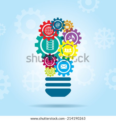 lamp gear with  innovation by creativity in social midia - stock vector