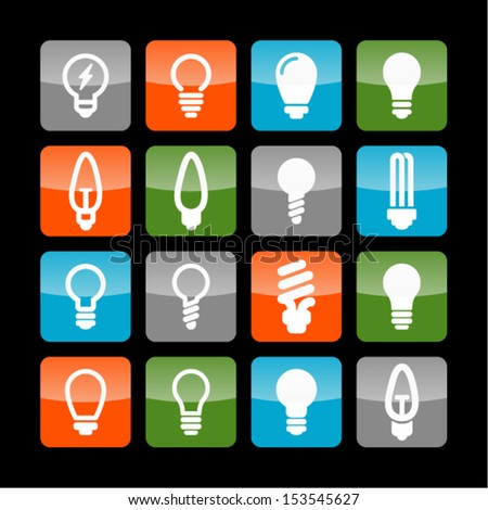 Lamp icon set for site - stock vector