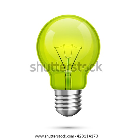 Lamp idea icon, object green light on a white background, Vector illustration - stock vector
