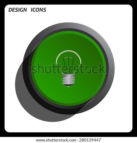 lamp, incandescent bulb. icon. vector design Green Start button, forward, to continue. Flat design style. - stock vector