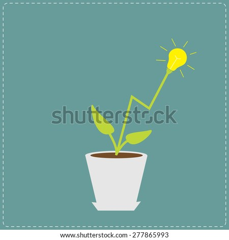 Lamp light bulb plant in the pot. Growing idea concept. Flat design Vector illustration. - stock vector