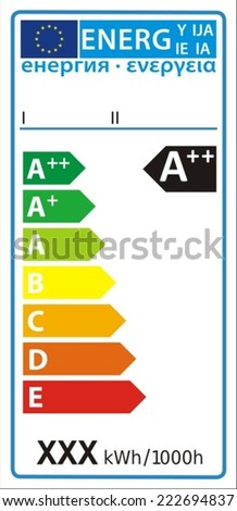 Lamp new energy rating graph label in vector. - stock vector