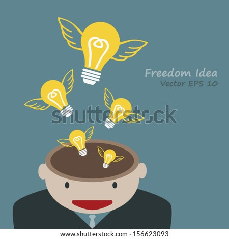 Lamp of idea concept out of head businessman - stock vector