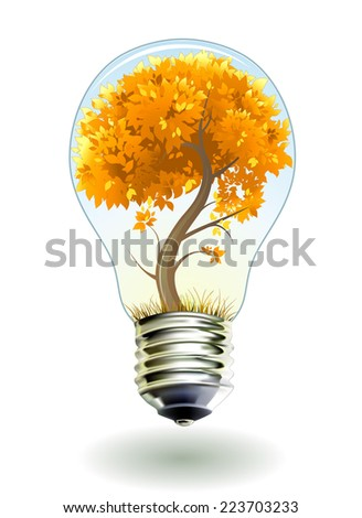 lamp with autumn tree inside - stock vector