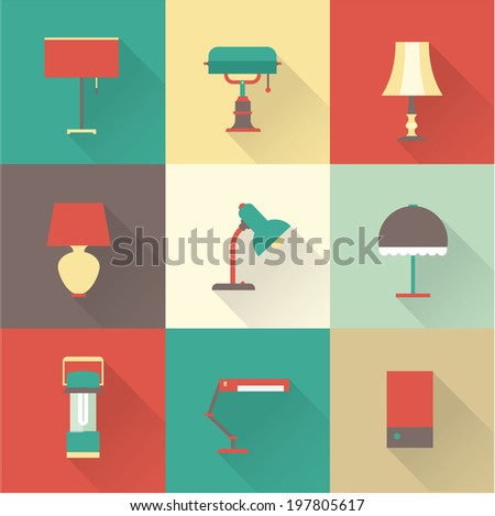 Lamps styles - stock vector