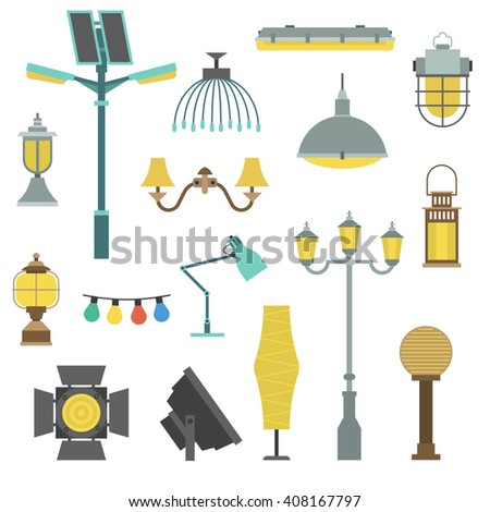 Lamps styles design electricity classic light furniture, different types electric equipment vector illustration. Vector lamps different light type and electric vector lamps. Energy decorative lamps. - stock vector