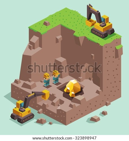 Land dig for Gold Mining. Isometric vector illustration - stock vector