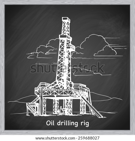 land oil drilling complex also called oil rig. EPS10 vector illustration in a sketchy style imitating scribbling on the blackboard. - stock vector