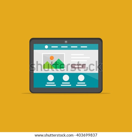 Landing page tablet isolated vector illustration. Responsive (adaptive) web design technology creative concept. Friendly user interface landing page graphic design.  - stock vector