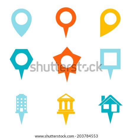 Landmark and Showplace Symbol Map Pointer Mark Icons Vector Template Illustration - stock vector