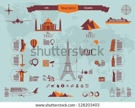 landmark info graphics - stock vector