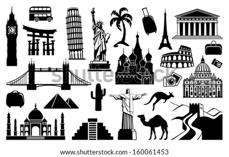 Landmark travel icons  - stock vector