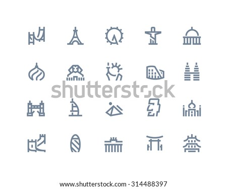 Landmarks icons set. Line style - stock vector