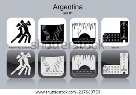 Landmarks of Argentina. Set of monochrome icons. Editable vector illustration. - stock vector