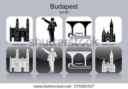 Landmarks of Budapest. Set of monochrome icons. Editable vector illustration. - stock vector