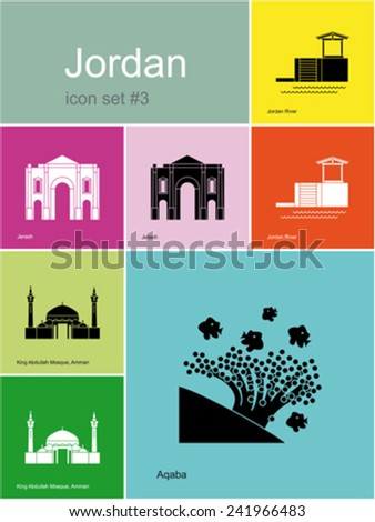 Landmarks of Jordan. Set of color icons in Metro style. Editable vector illustration. - stock vector