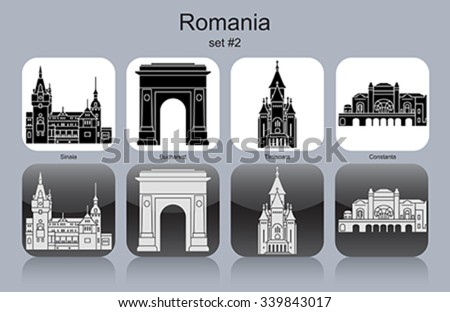 Landmarks of Romania. Set of monochrome icons. Editable vector illustration. - stock vector
