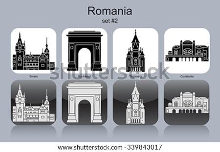 Landmarks of Romania. Set of monochrome icons. Editable vector illustration. - stock vector