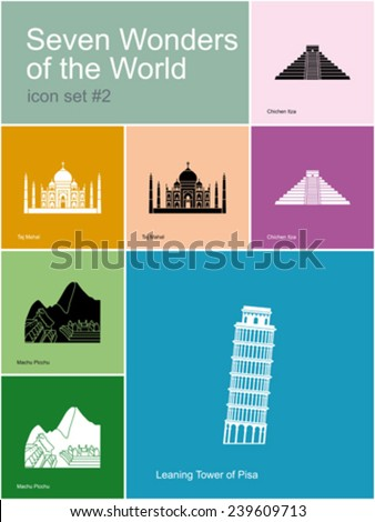 Landmarks of Seven Wonders of the World. Set of color icons in Metro style. Editable vector illustration. - stock vector