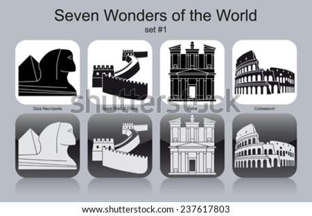Landmarks of Seven Wonders of the World. Set of monochrome icons. Editable vector illustration. - stock vector
