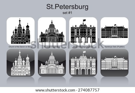 Landmarks of St.Petersburg. Set of monochrome icons. Editable vector illustration. - stock vector