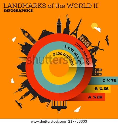 Landmarks of the World Infographic Design Set - stock vector