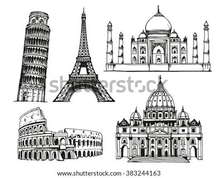 Landmarks of the world. Tower of Pisa, Coliseum and St. Peter's Basilica in Italy, Eiffel Tower in France, Taj Mahal in India. Vector illustration isolated on white background - stock vector