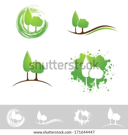 Landscape Abstract Design Collection Over White - stock vector